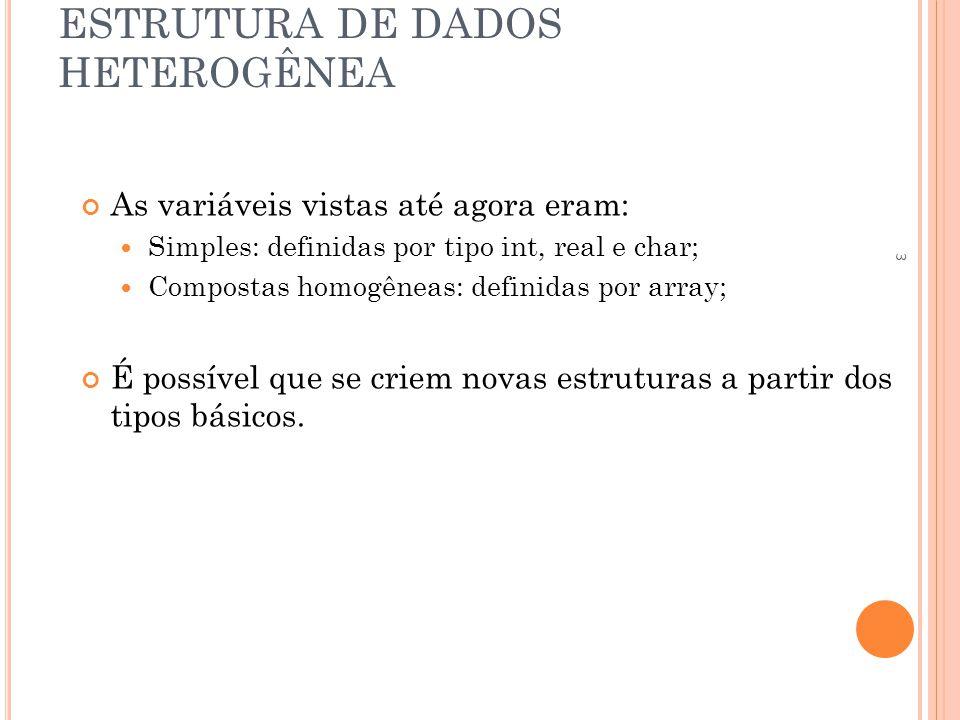 ESTRUTURA DE DADOS HETEROGÊNEA ESTRUTURA DE ESTRUTURAS Inicialização de uma estrutura de estruturas: estrutura ponto { int x, y; }; estrutura reta { estrutura ponto inicio, fim; }; estrutura reta r = {{10,20},{30,40}}; 24
