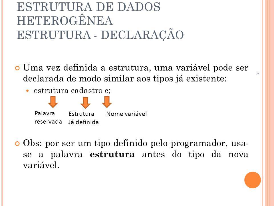 ESTRUTURA DE DADOS HETEROGÊNEA ESTRUTURA - DECLARAÇÃO Uma vez definida a estrutura, uma variável pode ser declarada de modo similar aos tipos já exist
