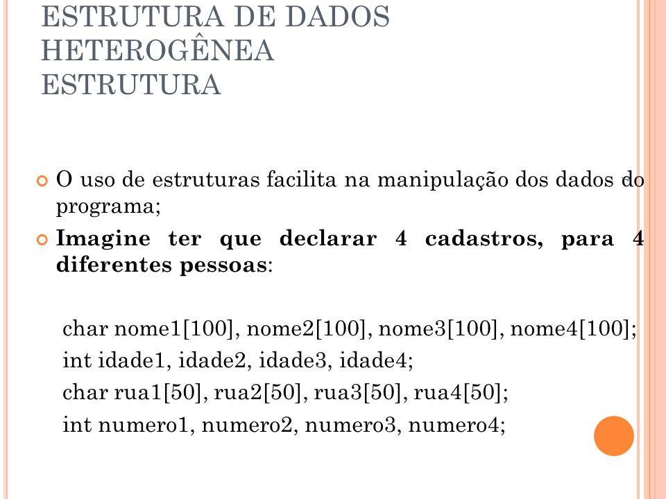 ESTRUTURA DE DADOS HETEROGÊNEA ESTRUTURA O uso de estruturas facilita na manipulação dos dados do programa; Imagine ter que declarar 4 cadastros, para