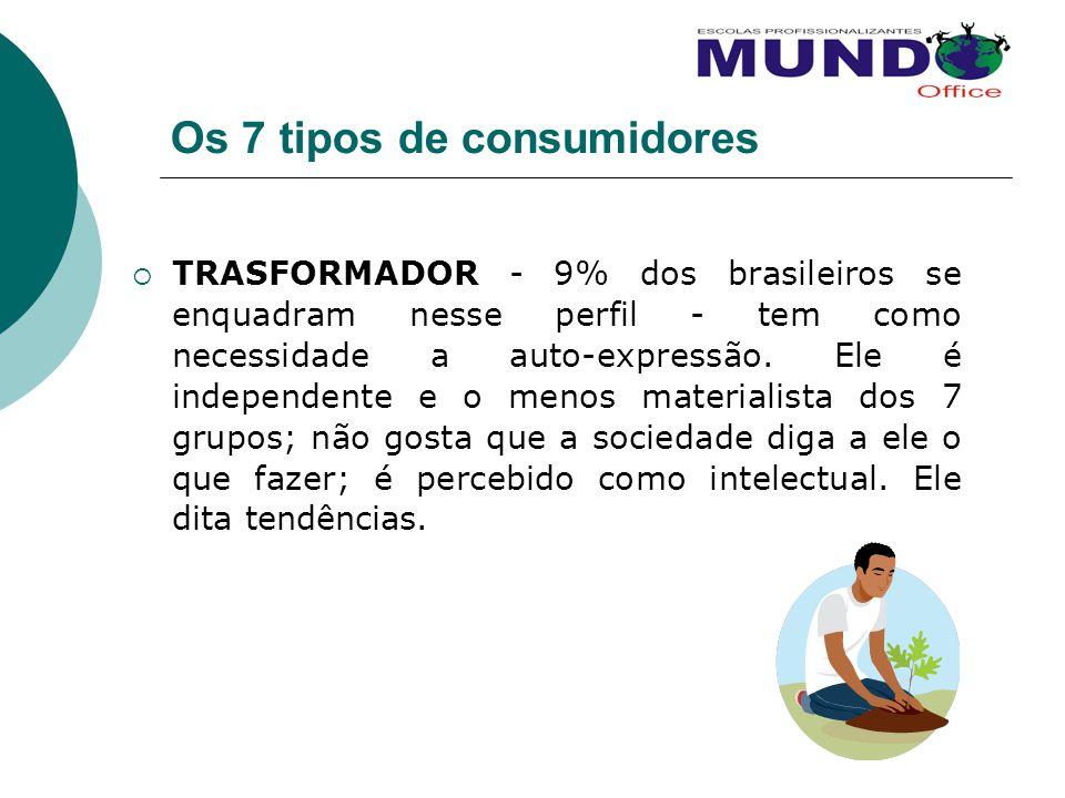 Os 7 tipos de consumidores TRASFORMADOR - 9% dos brasileiros se enquadram nesse perfil - tem como necessidade a auto-expressão. Ele é independente e o