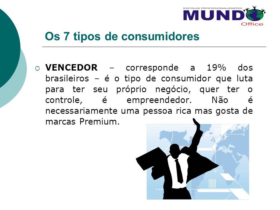 Os 7 tipos de consumidores VENCEDOR – corresponde a 19% dos brasileiros – é o tipo de consumidor que luta para ter seu próprio negócio, quer ter o con