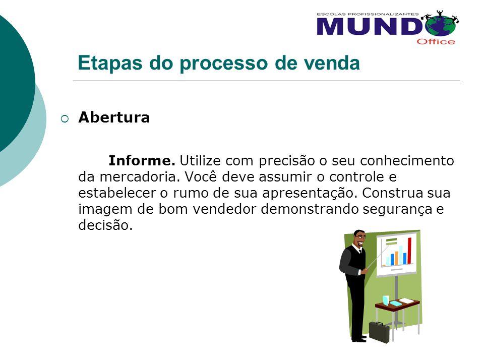 Etapas do processo de venda Abertura Informe. Utilize com precisão o seu conhecimento da mercadoria. Você deve assumir o controle e estabelecer o rumo