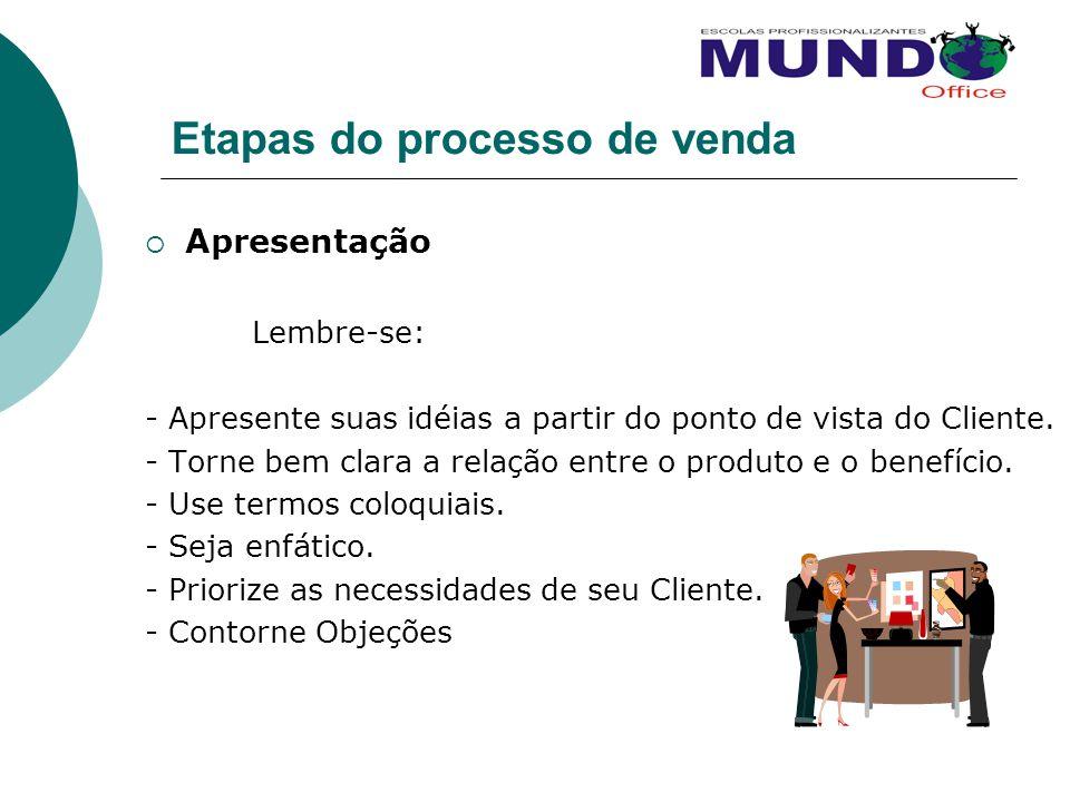 Etapas do processo de venda Apresentação Lembre-se: - Apresente suas idéias a partir do ponto de vista do Cliente. - Torne bem clara a relação entre o