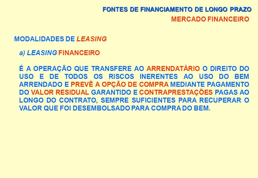 FONTES DE FINANCIAMENTO DE LONGO PRAZO MERCADO FINANCEIRO MODALIDADES DE LEASING HÁ DUAS MODALIDADES: a) LEASING FINANCEIRO, b) LEASING OPERACIONAL.