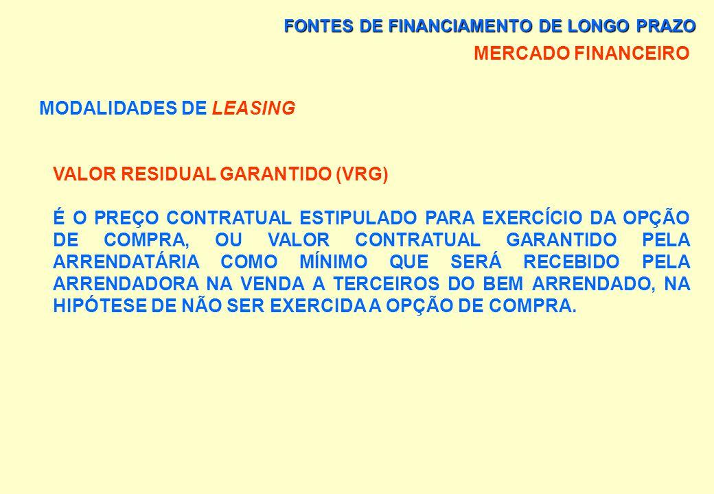 FONTES DE FINANCIAMENTO DE LONGO PRAZO MERCADO FINANCEIRO MODALIDADES DE LEASING a) LEASING FINANCEIRO É A OPERAÇÃO QUE TRANSFERE AO ARRENDATÁRIO O DI
