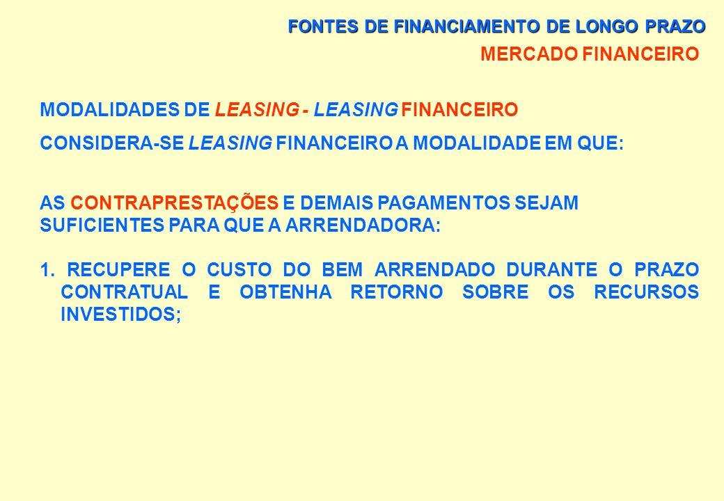 FONTES DE FINANCIAMENTO DE LONGO PRAZO MERCADO FINANCEIRO MODALIDADES DE LEASING - LEASING FINANCEIRO PODE A ARRENDATÁRIA PAGAR O VALOR RESIDUAL GARAN