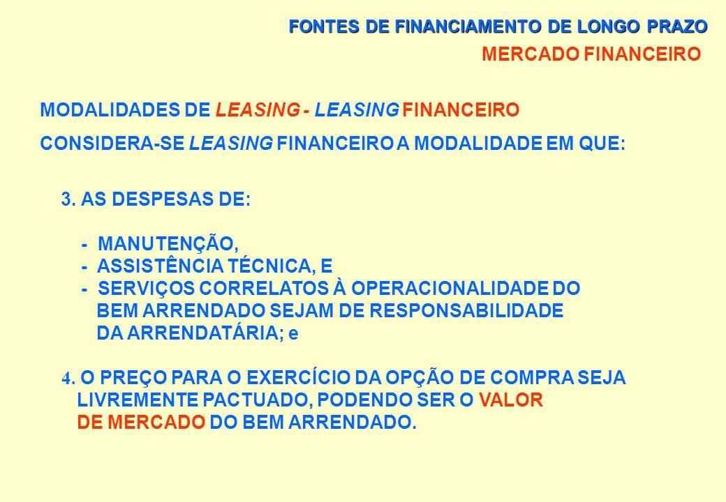 FONTES DE FINANCIAMENTO DE LONGO PRAZO MERCADO FINANCEIRO MODALIDADES DE LEASING - LEASING FINANCEIRO CONSIDERA-SE LEASING FINANCEIRO A MODALIDADE EM