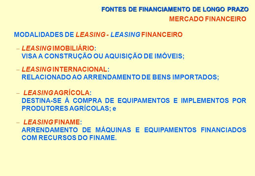 FONTES DE FINANCIAMENTO DE LONGO PRAZO MERCADO FINANCEIRO MODALIDADES DE LEASING - LEASING FINANCEIRO VENDOR: -> UM PROGRAMA DESENVOLVIDO PARA UMA EMP