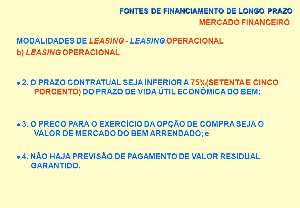 FONTES DE FINANCIAMENTO DE LONGO PRAZO MERCADO FINANCEIRO MODALIDADES DE LEASING - LEASING OPERACIONAL b) LEASING OPERACIONAL MODALIDADE EM QUE: 1. AS