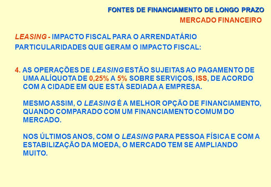 FONTES DE FINANCIAMENTO DE LONGO PRAZO MERCADO FINANCEIRO LEASING - IMPACTO FISCAL PARA O ARRENDATÁRIO PARTICULARIDADES QUE GERAM O IMPACTO FISCAL: 3.