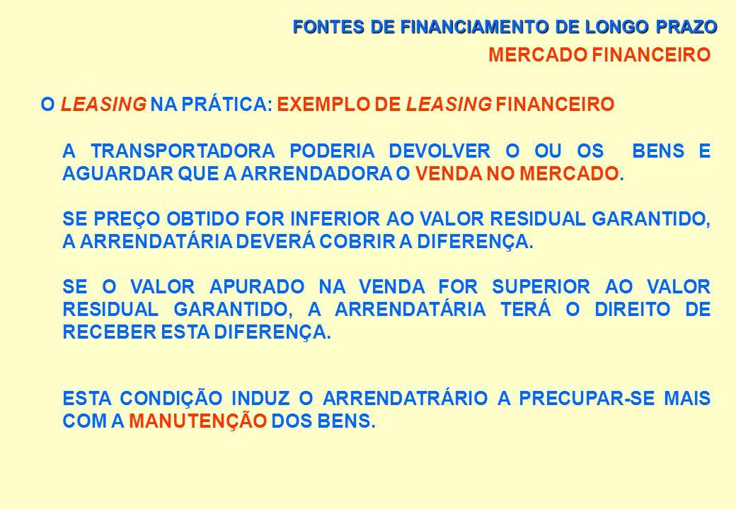 FONTES DE FINANCIAMENTO DE LONGO PRAZO MERCADO FINANCEIRO O LEASING NA PRÁTICA: EXEMPLO DE LEASING FINANCEIRO DURANTE O PERÍODO DE 24 MESES, DURAÇÃO D