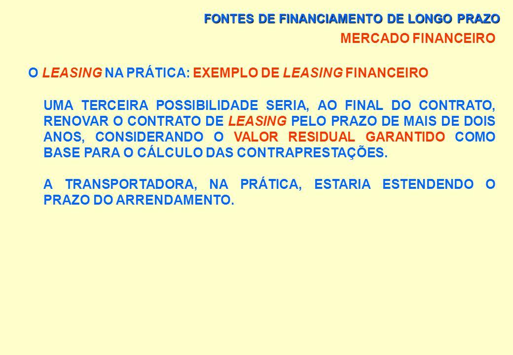 FONTES DE FINANCIAMENTO DE LONGO PRAZO MERCADO FINANCEIRO O LEASING NA PRÁTICA: EXEMPLO DE LEASING FINANCEIRO A TRANSPORTADORA PODERIA DEVOLVER O OU O