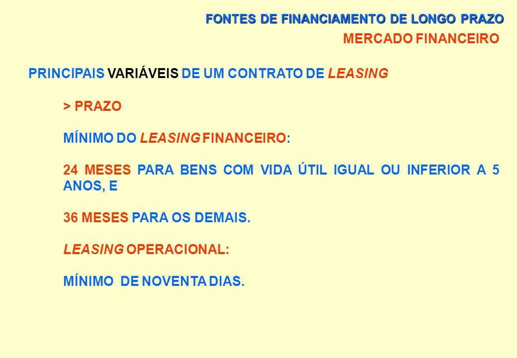 FONTES DE FINANCIAMENTO DE LONGO PRAZO MERCADO FINANCEIRO PRINCIPAIS VARIÁVEIS DE UM CONTRATO DE LEASING > VALOR RESIDUAL GARANTIDO É A PARCELA DO VAL