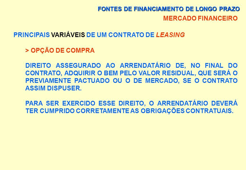 FONTES DE FINANCIAMENTO DE LONGO PRAZO MERCADO FINANCEIRO PRINCIPAIS VARIÁVEIS DE UM CONTRATO DE LEASING > VALOR PASSÍVEL DE ARRENDAMENTO 100% DO VALO