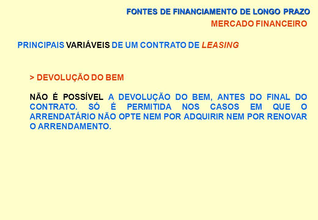 FONTES DE FINANCIAMENTO DE LONGO PRAZO MERCADO FINANCEIRO PRINCIPAIS VARIÁVEIS DE UM CONTRATO DE LEASING > OPÇÃO DE COMPRA DIREITO ASSEGURADO AO ARREN