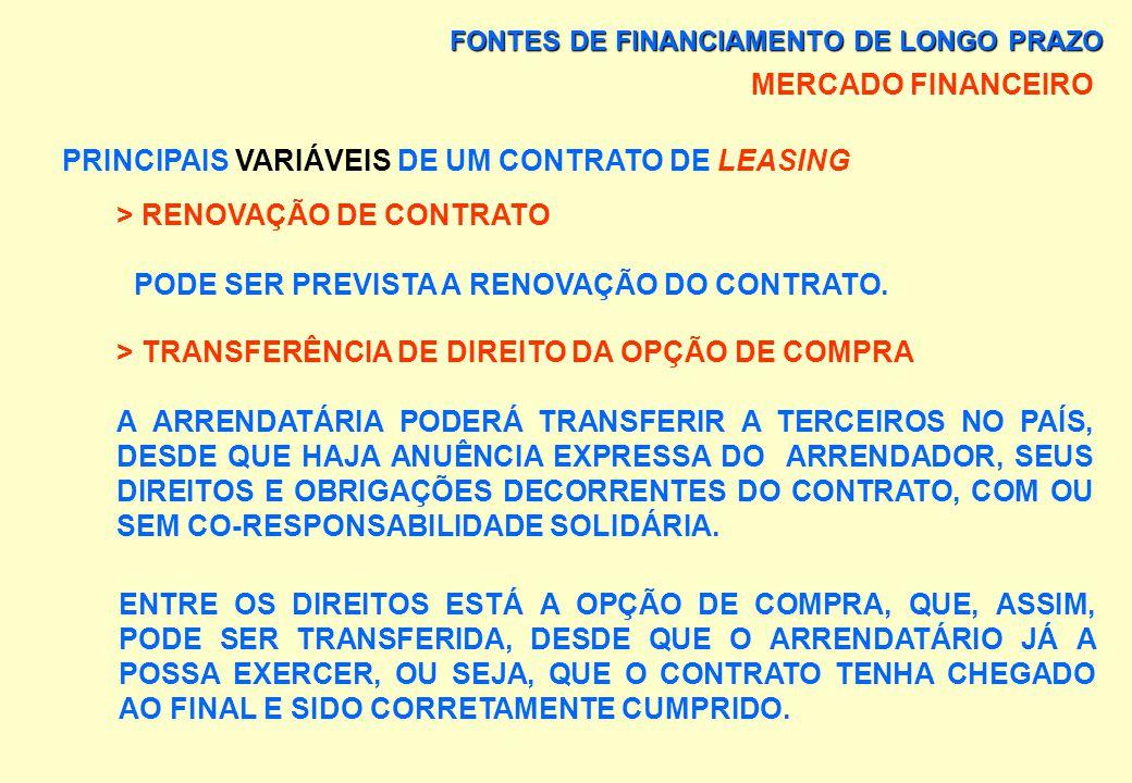 FONTES DE FINANCIAMENTO DE LONGO PRAZO MERCADO FINANCEIRO PRINCIPAIS VARIÁVEIS DE UM CONTRATO DE LEASING > DEVOLUÇÃO DO BEM NÃO É POSSÍVEL A DEVOLUÇÃO