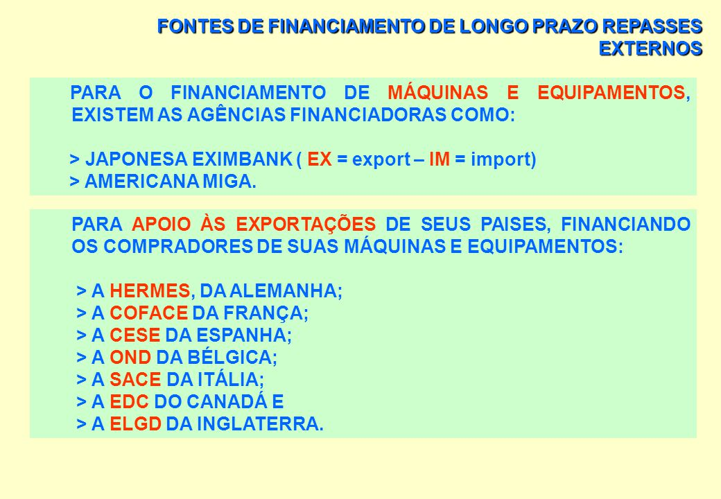 FONTES DE FINANCIAMENTO DE LONGO PRAZO A IFC OPERA COM TRÊS FORMAS BÁSICAS DE FINANCIAMENTO: CRÉDITO TRADICIONAL; INVESTIMENTO DE RISCO; E CRÉDITO ENV