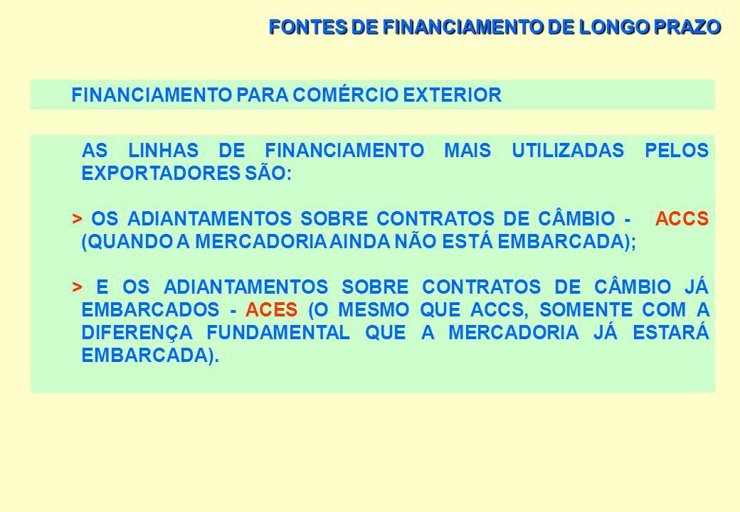 FONTES DE FINANCIAMENTO DE LONGO PRAZO FINANCIAMENTO PARA COMÉRCIO EXTERIOR A RESOLUÇÃO 63, EMITIDA PELO BACEN, EM 21/08/97, CONSISTE NA CAPTAÇÃO DE D