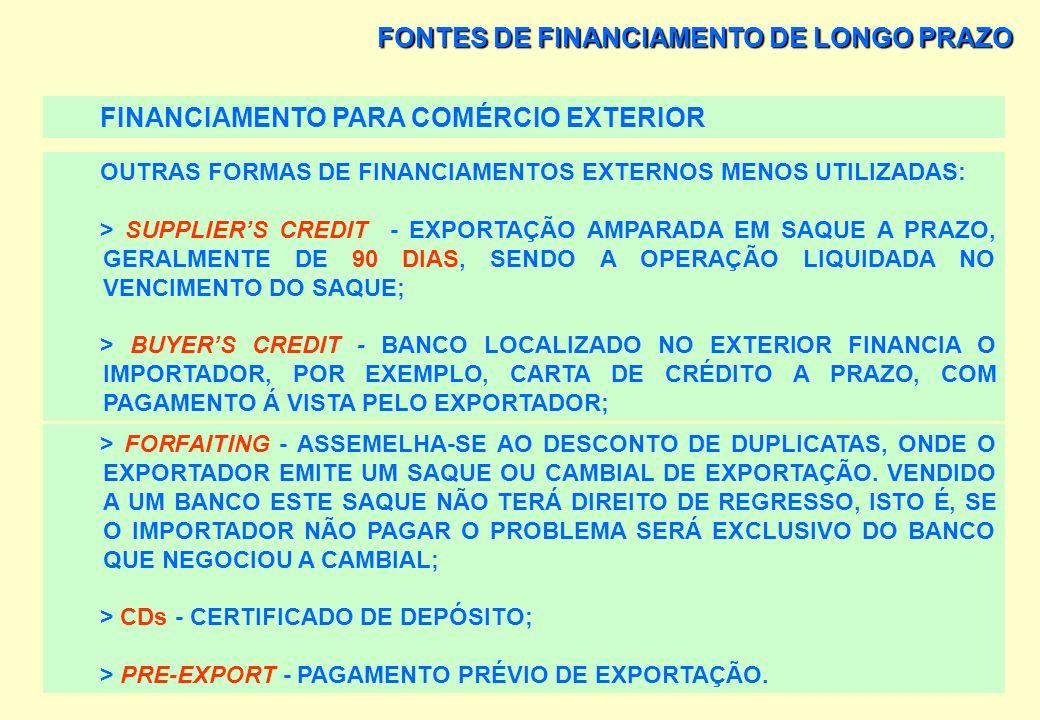 FONTES DE FINANCIAMENTO DE LONGO PRAZO AS LINHAS DE FINANCIAMENTO MAIS UTILIZADAS PELOS EXPORTADORES SÃO: > OS ADIANTAMENTOS SOBRE CONTRATOS DE CÂMBIO