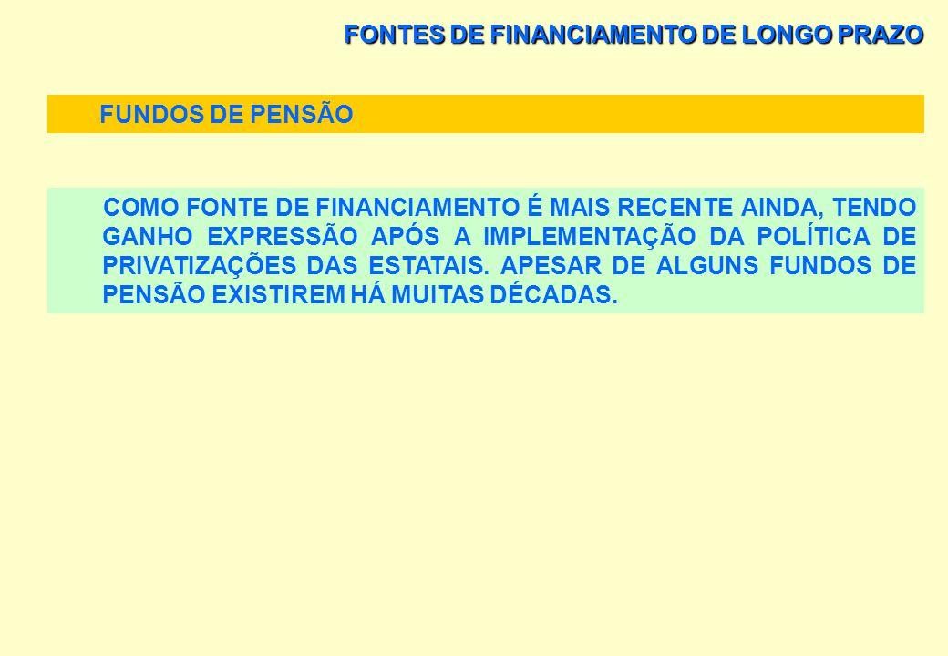FONTES DE FINANCIAMENTO DE LONGO PRAZO FUNDOS DE PENSÃO FONTE MAIS ATRATIVA DE FINANCIAMENTO DE LONGO PRAZO, SEJA EM TERMOS DE CAPITAL DE TERCEIROS, S