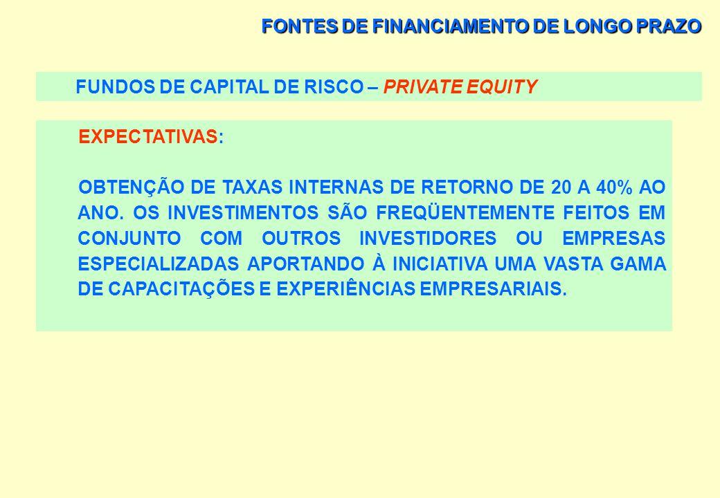 FONTES DE FINANCIAMENTO DE LONGO PRAZO FUNDOS DE CAPITAL DE RISCO – PRIVATE EQUITY HORIZONTE DA APLICAÇÃO: ENTRE 3 A 8 ANOS. OBJETIVO: MAXIMIZAR O GAN