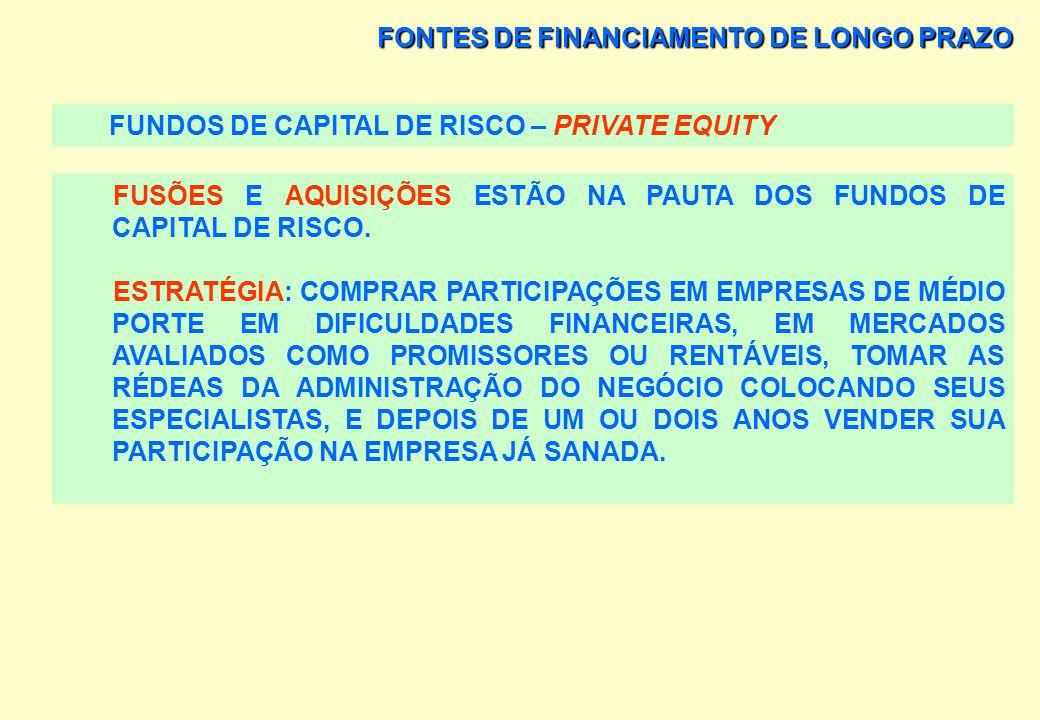FONTES DE FINANCIAMENTO DE LONGO PRAZO FUNDOS DE CAPITAL DE RISCO – PRIVATE EQUITY AQUISIÇÕES: PROCESSOS DE PRIVATIZAÇÃO OU EM NEGOCIAÇÕES DIRETAS. IN