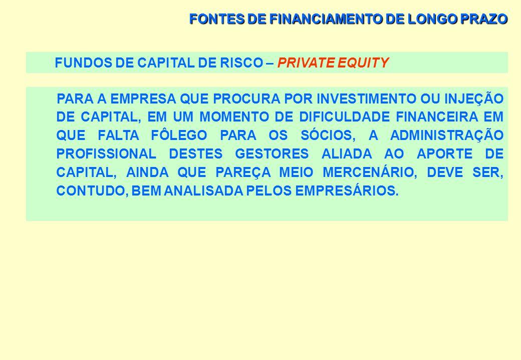 FONTES DE FINANCIAMENTO DE LONGO PRAZO FUNDOS DE CAPITAL DE RISCO – PRIVATE EQUITY FUSÕES E AQUISIÇÕES ESTÃO NA PAUTA DOS FUNDOS DE CAPITAL DE RISCO.
