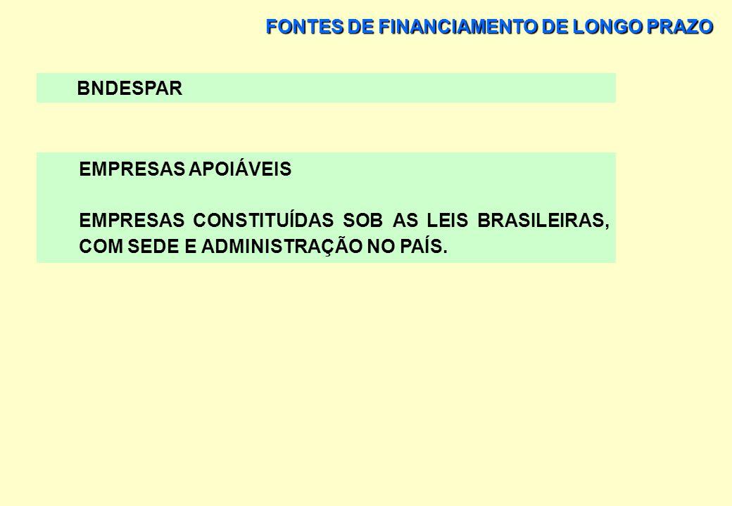 FONTES DE FINANCIAMENTO DE LONGO PRAZO BNDESPAR OBJETIVOS FORTALECIMENTO DA ESTRUTURA DE CAPITAL DAS EMPRESAS E APOIO A NOVOS INVESTIMENTOS NA ECONOMI