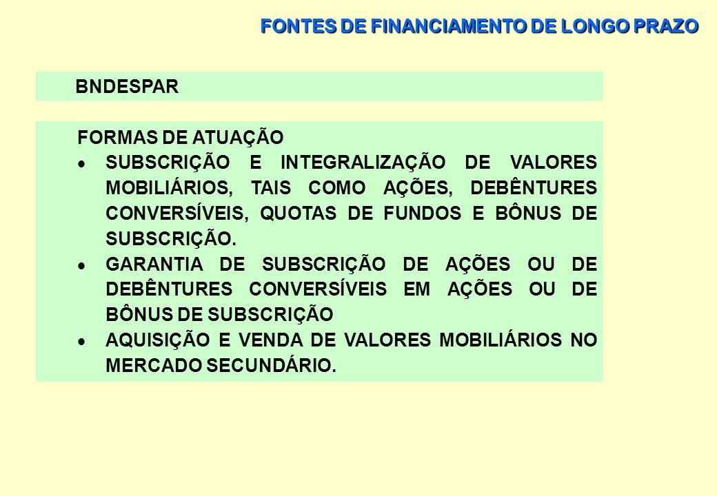 FONTES DE FINANCIAMENTO DE LONGO PRAZO BNDESPAR EMPRESAS APOIÁVEIS EMPRESAS CONSTITUÍDAS SOB AS LEIS BRASILEIRAS, COM SEDE E ADMINISTRAÇÃO NO PAÍS.