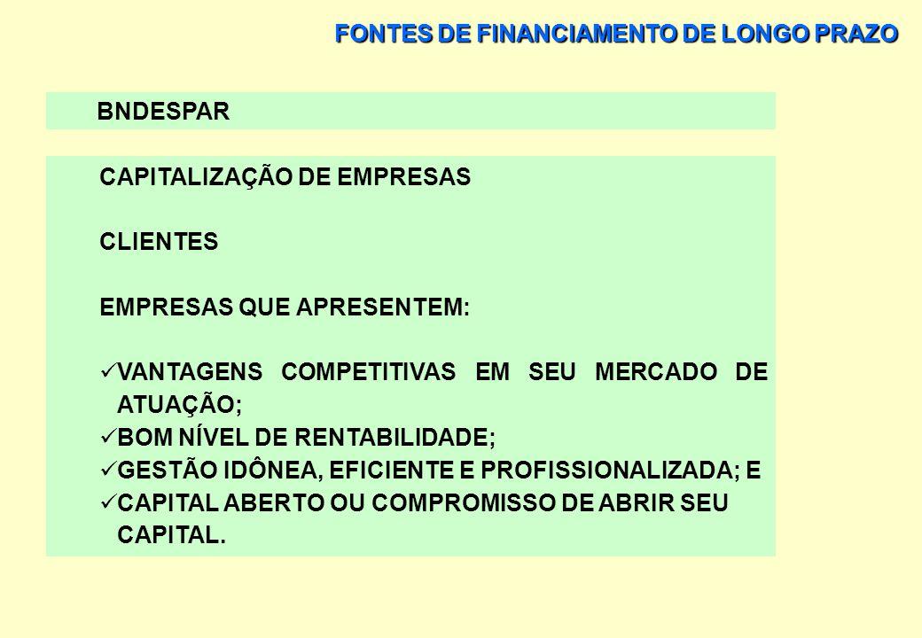FONTES DE FINANCIAMENTO DE LONGO PRAZO BNDESPAR CAPITALIZAÇÃO DE EMPRESAS FORMAS DE OPERAÇÃO SUBSCRIÇÃO DE AÇÕES OU DEBÊNTURES CONVERSÍVEIS GARANTIA F
