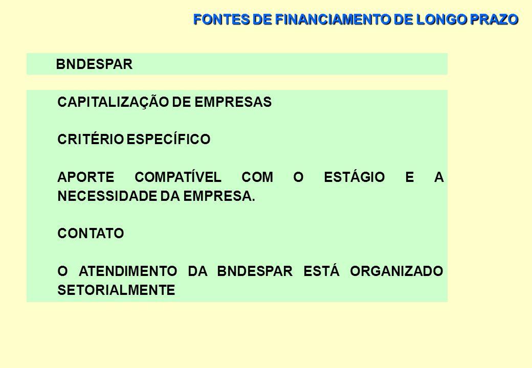 FONTES DE FINANCIAMENTO DE LONGO PRAZO BNDESPAR CAPITALIZAÇÃO DE EMPRESAS CRITÉRIO ESPECÍFICO APORTE COMPATÍVEL COM O ESTÁGIO E A NECESSIDADE DA EMPRE