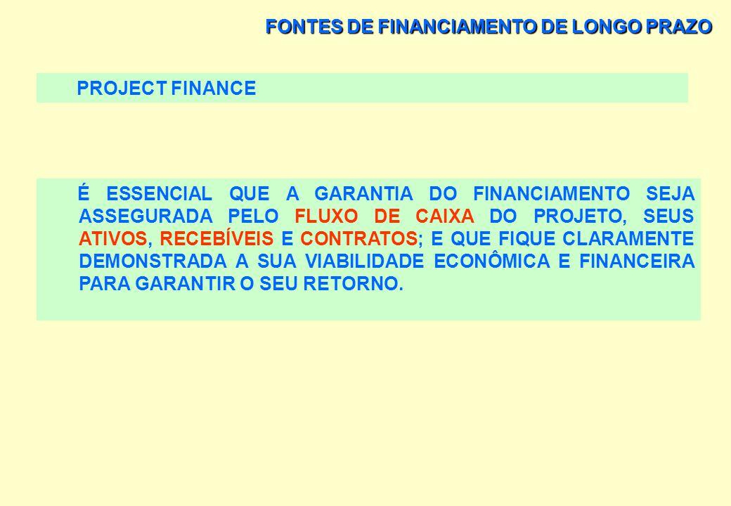 FONTES DE FINANCIAMENTO DE LONGO PRAZO PROJECT FINANCE VANTAGEM: A RUPTURA DA ABORDAGEM TRADICIONAL CENTRADA NA EMPRESA QUE BUSCA FINANCIAMENTO PARA A