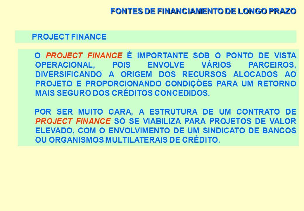 FONTES DE FINANCIAMENTO DE LONGO PRAZO PROJECT FINANCE PARA VIABILIZAR UM CONTRATO DE PROJECT FINANCE É NECESSÁRIO MONTAR-SE UM SEGURO-GARANTIA, QUE N