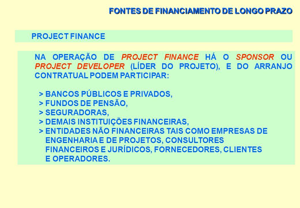 FONTES DE FINANCIAMENTO DE LONGO PRAZO PROJECT FINANCE NA OPERAÇÃO DE PROJECT FINANCE HÁ O SPONSOR OU PROJECT DEVELOPER (LÍDER DO PROJETO), E DO ARRAN