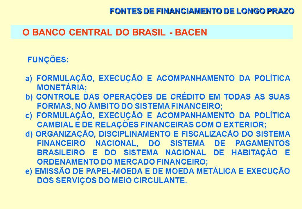 FONTES DE FINANCIAMENTO DE LONGO PRAZO O BANCO CENTRAL DO BRASIL - BACEN MISSÃO INSTITUCIONAL: ASSEGURAR A ESTABILIDADE DO PODER DE COMPRA DA MOEDA E