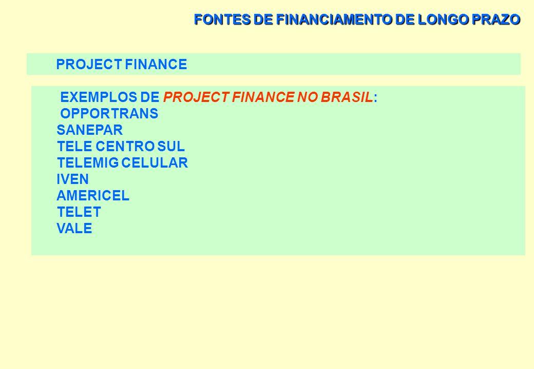 FONTES DE FINANCIAMENTO DE LONGO PRAZO PROJECT FINANCE AS OPERAÇÕES DE ACQUISITION FINANCE OU FINANCIAMENTO PARA COMPRA DE EMPRESAS É UMA MODALIDADE D