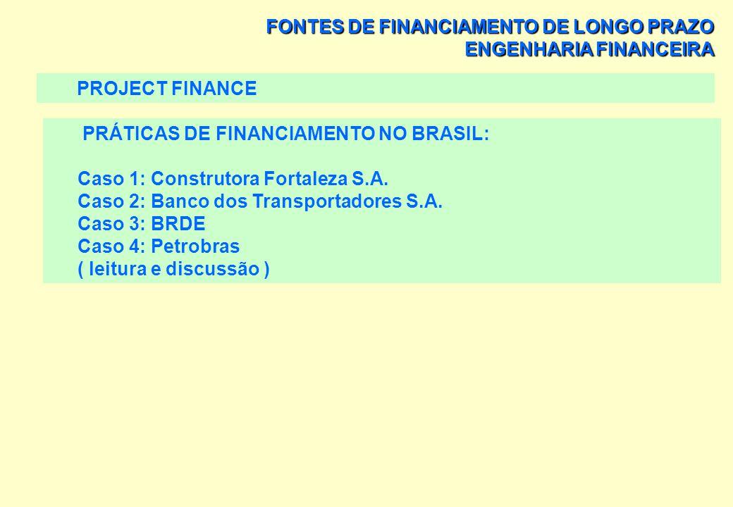 FONTES DE FINANCIAMENTO DE LONGO PRAZO PROJECT FINANCE OUTROS EXEMPLOS DE PROJECT FINANCE: > TÚNEL SOB A BAÍAS DE SYDNEY, > O TÚNEL ENTRE A INGLATERRA