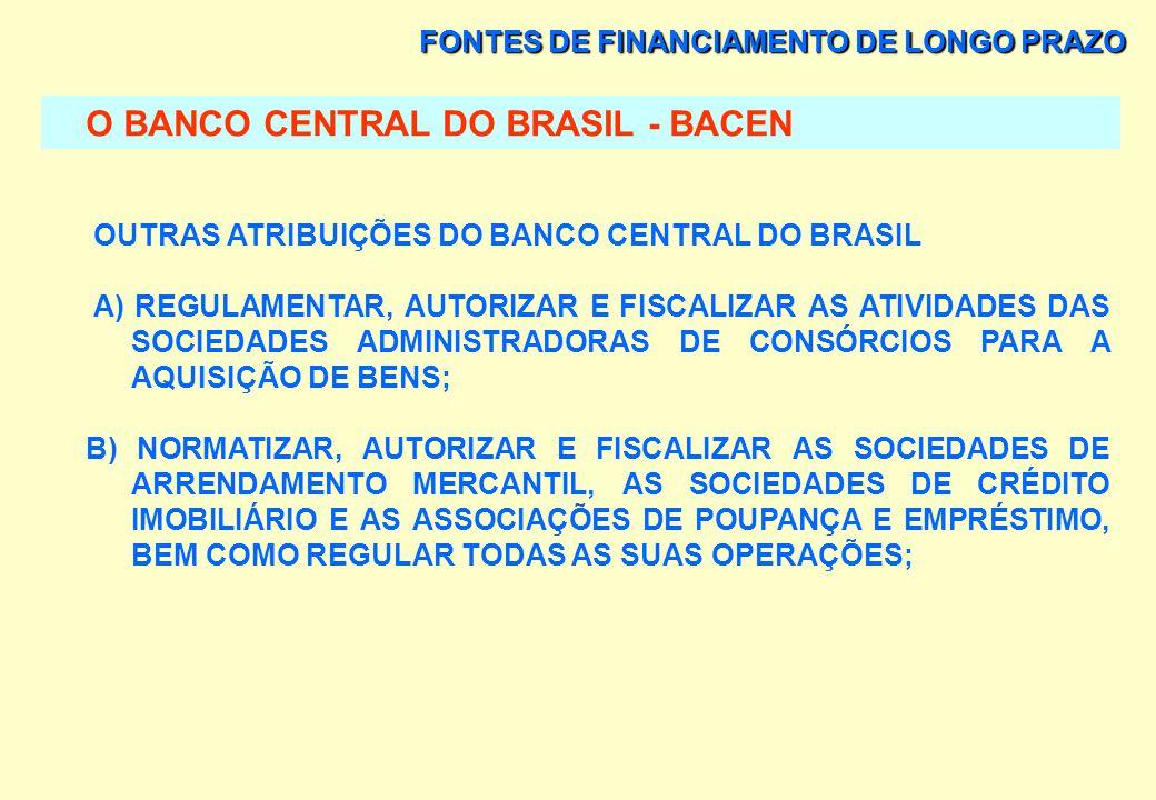FONTES DE FINANCIAMENTO DE LONGO PRAZO O BANCO CENTRAL DO BRASIL - BACEN CONTROLE DO MEIO CIRCULANTE AS ATIVIDADES REFERENTES AO MEIO CIRCULANTE DESTI