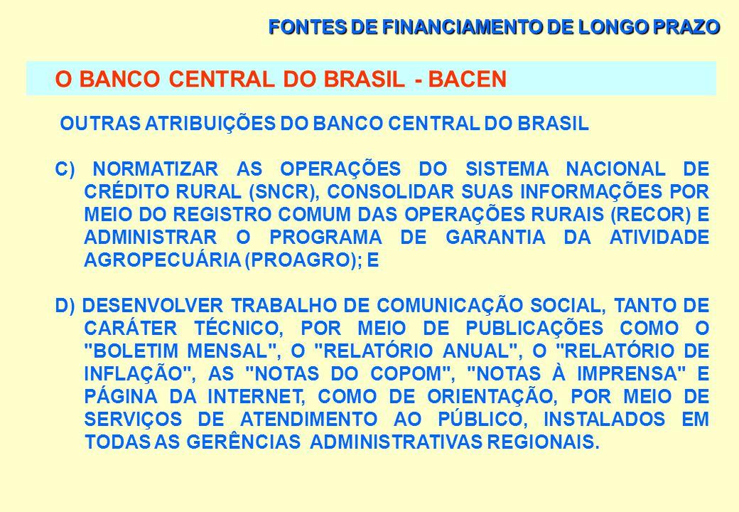 FONTES DE FINANCIAMENTO DE LONGO PRAZO O BANCO CENTRAL DO BRASIL - BACEN OUTRAS ATRIBUIÇÕES DO BANCO CENTRAL DO BRASIL A) REGULAMENTAR, AUTORIZAR E FI