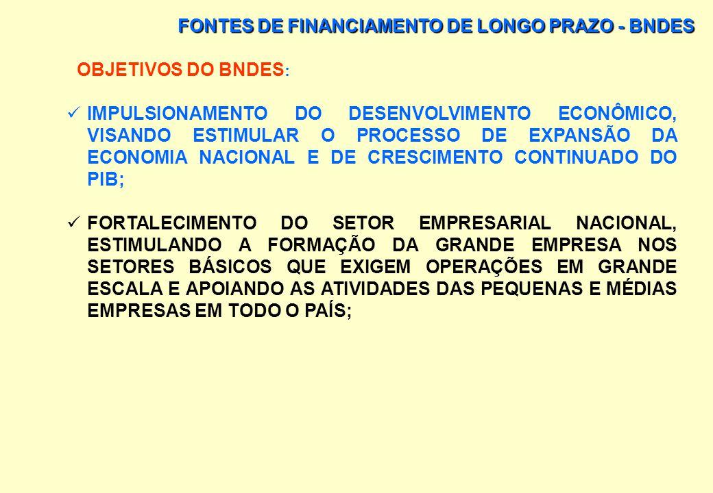 FONTES DE FINANCIAMENTO DE LONGO PRAZO - BNDES O BNDES É O PRINCIPAL INSTRUMENTO DE EXECUÇÃO DA POLÍTICA DE INVESTIMENTO DO GOVERNO FEDERAL E TEM POR