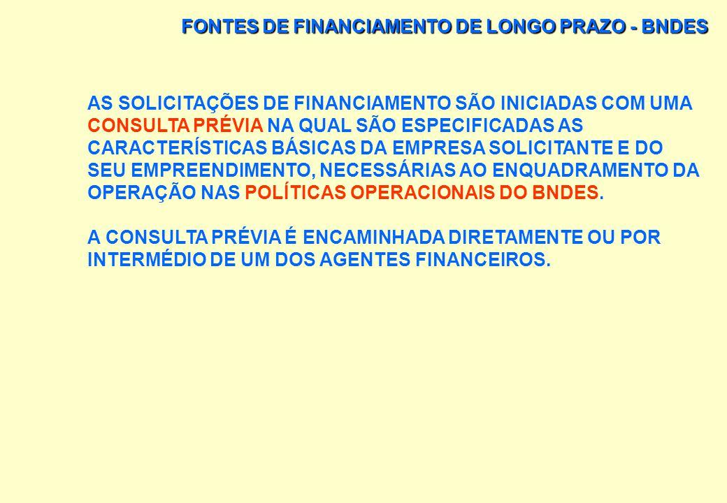 FONTES DE FINANCIAMENTO DE LONGO PRAZO - BNDES O BNDES OPERA: DIRETA, OU INDIRETA ATRAVÉS DA REDE DE AGENTES FINANCEIROS PÚBLICOS E PRIVADOS CREDENCIA