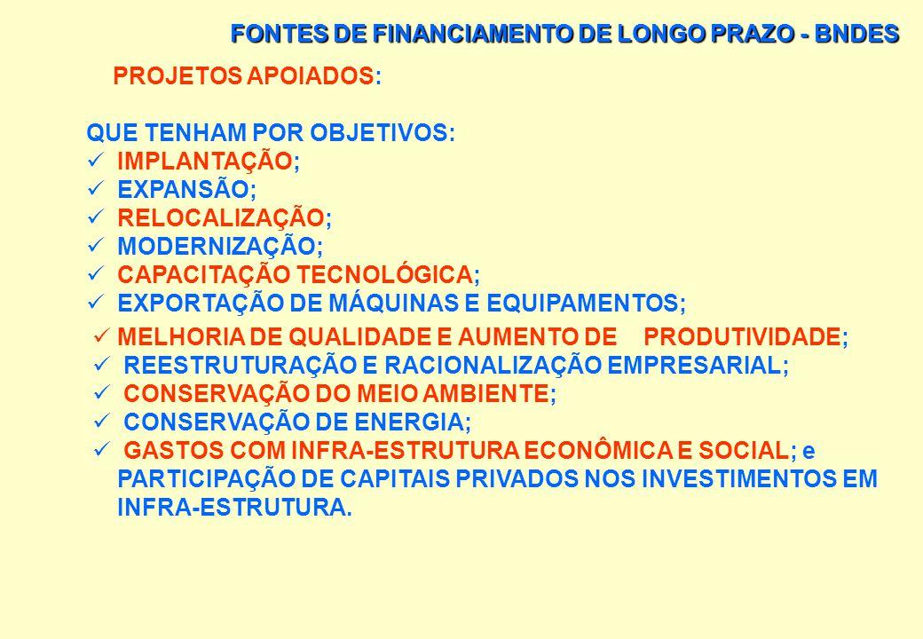 FONTES DE FINANCIAMENTO DE LONGO PRAZO - BNDES AS SOLICITAÇÕES DE FINANCIAMENTO SÃO INICIADAS COM UMA CONSULTA PRÉVIA NA QUAL SÃO ESPECIFICADAS AS CAR