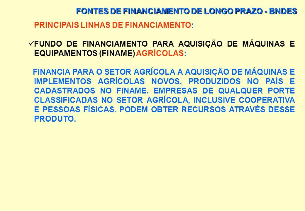 FONTES DE FINANCIAMENTO DE LONGO PRAZO - BNDES CONDIÇÕES DE FINANCIAMENTO DO FINAME: REGIÃO PERIODI- CIDADE DE PAGAMENTO PRIMEIRA PRESTA- ÇÃO NÚMERO M