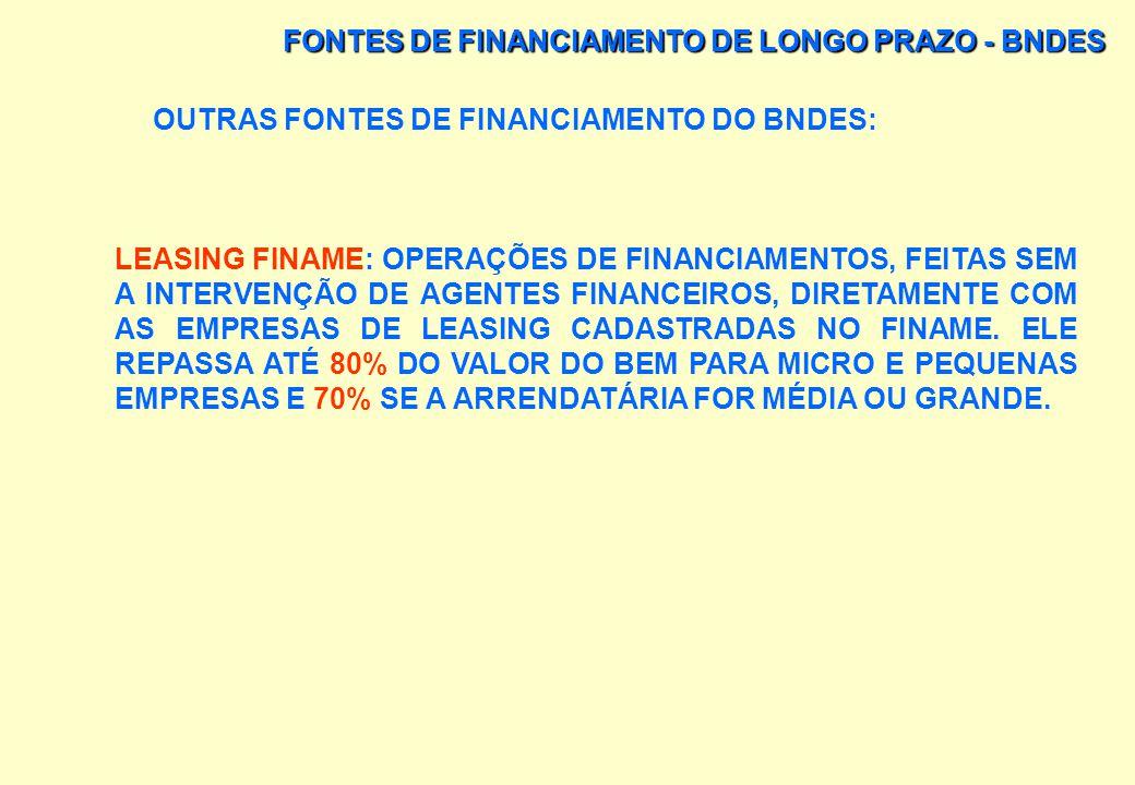 FONTES DE FINANCIAMENTO DE LONGO PRAZO - BNDES ALGUMAS DAS PRINCIPAIS LINHAS DE FINANCIAMENTO DO BNDES: BNDES – EXIM: FINANCIAMENTO À EXPORTAÇÃO DE BE