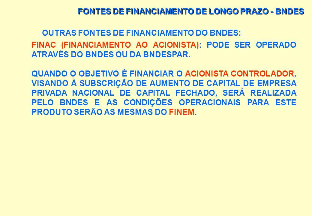 FONTES DE FINANCIAMENTO DE LONGO PRAZO - BNDES OUTRAS FONTES DE FINANCIAMENTO DO BNDES: LEASING FINAME: OPERAÇÕES DE FINANCIAMENTOS, FEITAS SEM A INTE