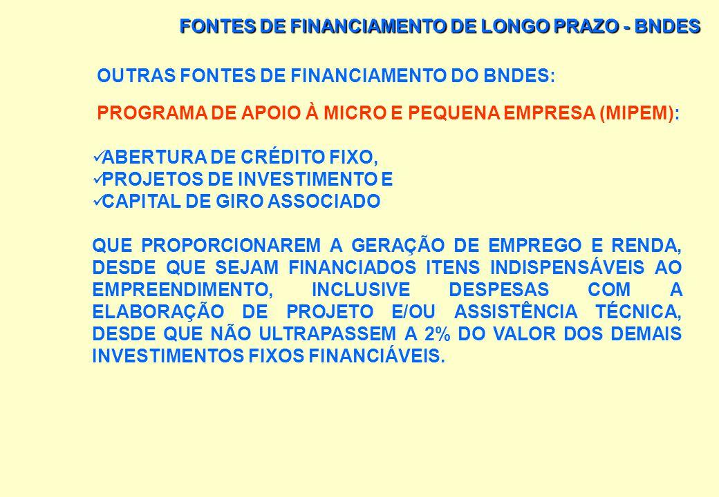 FONTES DE FINANCIAMENTO DE LONGO PRAZO - BNDES OUTRAS FONTES DE FINANCIAMENTO DO BNDES: PROGRAMA DE GERAÇÃO DE RENDA (PROGER): FINANCIA A ABERTURA OU
