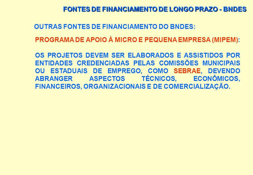 FONTES DE FINANCIAMENTO DE LONGO PRAZO - BNDES OUTRAS FONTES DE FINANCIAMENTO DO BNDES: PROGRAMA DE APOIO À MICRO E PEQUENA EMPRESA (MIPEM): ABERTURA