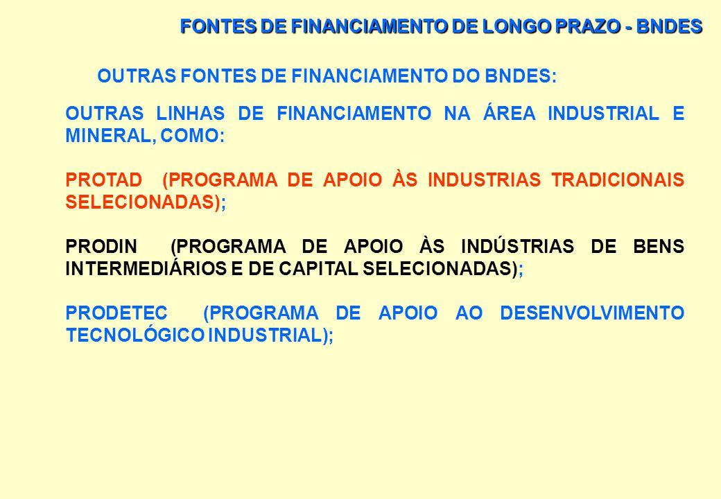 FONTES DE FINANCIAMENTO DE LONGO PRAZO - BNDES OUTRAS FONTES DE FINANCIAMENTO DO BNDES: PROGRAMA DE APOIO À MICRO E PEQUENA EMPRESA (MIPEM): OS PROJET