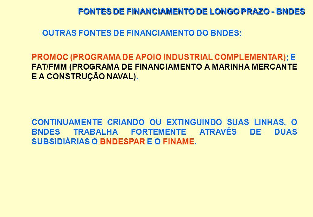 FONTES DE FINANCIAMENTO DE LONGO PRAZO - BNDES OUTRAS FONTES DE FINANCIAMENTO DO BNDES: OUTRAS LINHAS DE FINANCIAMENTO NA ÁREA INDUSTRIAL E MINERAL, C