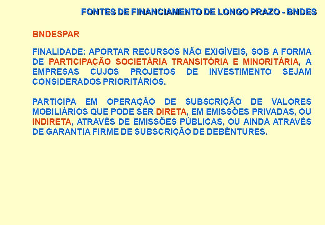 FONTES DE FINANCIAMENTO DE LONGO PRAZO - BNDES OUTRAS FONTES DE FINANCIAMENTO DO BNDES: PROMOC (PROGRAMA DE APOIO INDUSTRIAL COMPLEMENTAR); E FAT/FMM